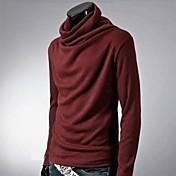Camiseta De los hombres Un Color-Casual / Trabajo-Mezcla de Algodón-Manga Larga-Negro / Azul / Marrón / Rojo / Blanco / Gris