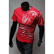 メンズラウンドネックエスニックプリントファッションTシャツ