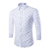 Camisa De los hombres Un Color Casual / Trabajo / Formal / Deporte / Tallas Grandes-Algodón / Lino / Poliéster-Manga Larga-Azul / Blanco