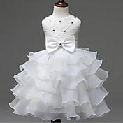 Vestido Chica deFloral-Rayón-Verano / Primavera / Otoño-Rosa / Rojo / Blanco / Amarillo