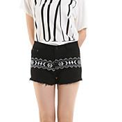De las mujeres Pantalones Cortos-Casual Microelástico-Algodón