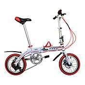 Bicicletas plegables Bicicletas para niños ' Ciclismo 6 velocidad 14 pulgadas Shimano Doble Disco de Freno OrdinarioCuadro de Aleación de