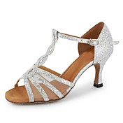 Zapatos de baile(Negro Plata Oro) -Latino-Personalizables-Tacón Personalizado