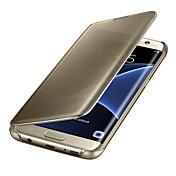 Para Samsung Galaxy S8 S7 Edge Activado/Apagado Automático Cromado Espejo Flip Transparente Funda Cuerpo Entero Funda Un Color Policarbonato