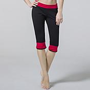 Pantalones de yoga Cortados Transpirable Cintura Media Eslático Ropa deportiva Rojo Negro Morado MujerYoga Taekwondo Ejercicio y Fitness