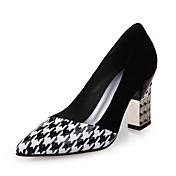 Mujer-Tacón Robusto-Tacones / Confort / PuntiagudosExterior / Oficina y Trabajo / Vestido-PU-Negro y Blanco