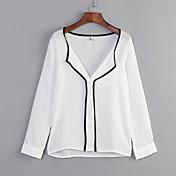 Mujer Simple Casual/Diario Primavera Camisa,Escote en Pico Un Color Manga Larga Algodón Blanco Medio