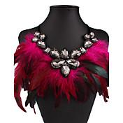 Mujer Collares con colgantes Gota Cristal Brillante Pluma Nailon Sexy Moda Europeo Joyería Destacada joyería de disfraz Joyas Para Boda