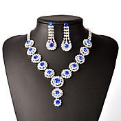 Mujer Juego de Joyas Collar / pendientes Los sistemas nupciales de la joyería Moda joyería de disfraz Cobre Brillante Plateado Collares