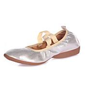 Zapatos de baile-No Personalizables-Mujer-Ballet Latino Jazz Claqué Moderno Salsa Zapatos de Swing-Tacón Plano-Cuero-Negro Plata Oro
