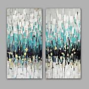 Pintada a mano Abstracto Pinturas de óleo,Modern / Realismo Dos Paneles Lienzos Pintura al óleo pintada a colgar For Decoración hogareña
