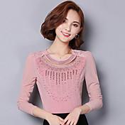 firmar la capa del otoño astilleros coreanos costura de cuello redondo de manga larga camisa de encaje era una gasa fina camisa femenina
