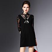2016 de invierno nuevas mujeres atractivas de las señoras de costura del cordón delgado era vestido fino negro