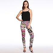 Mujer Sencillo Tiro Medio Microelástico Vaqueros Pantalones,Pitillo Estampado