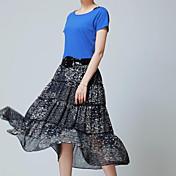 De las mujeres Vestido Vintage / Casual Midi Algodón / Poliéster / Raso / Punto