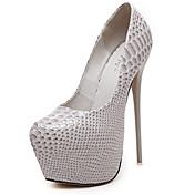 Mujer-Tacón Stiletto-Zapatos del club-Tacones-Vestido-PU-Negro Bermellón Almendra