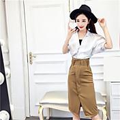 Cerca de la primavera y el verano de moda de Corea grande flojo cuello blanco camisa + falda dividida paquete delgado de la cadera