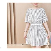 Corea del verano era vestido fino niñas gasa de la cintura rayas párrafo largo con volantes de la falda de la blusa de bienes
