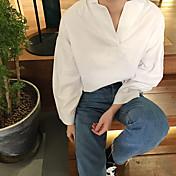 Mujer Chic de Calle Uso Diario Primavera Camisa,Cuello Camisero Color sólido Manga Larga N/A Medio