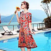 Mujer Corte Ancho Recto Vestido Casual/Diario Playa Noche Vintage Simple Sofisticado,Floral Escote Redondo Hasta la Rodilla 1/2 Manga Seda