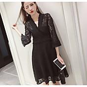 Resorte y otoño mujeres coreanas adelgazan la cintura fina bottoming el hueco de la trompeta del cordón de la manga del vestido del