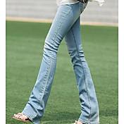 Mujer Chic de Calle Tiro Medio Microelástico Vaqueros Pantalones,Corte Recto Un Color