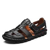 Hombre-Tacón Plano-Gladiador Suelas con luz-Sandalias-Exterior Informal-Cuero-Negro Marrón oscuro