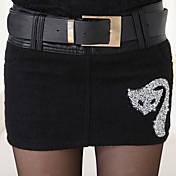 Mujer Sencillo Tiro Medio Inelástica Chinos Pantalones,Corte Recto Un Color Color puro