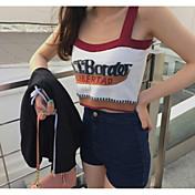 Mujer Simple Casual/Diario Tank Tops,Con Tirantes Estampado Sin Mangas Algodón