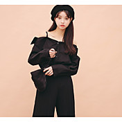 Mujer Simple Noche Casual/Diario Vacaciones Camisa,Con Tirantes Un Color Manga Larga Algodón