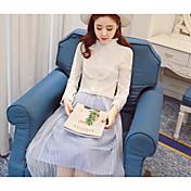 Mujer Simple Formal Blusa,Escote Redondo Un Color Manga Larga Algodón