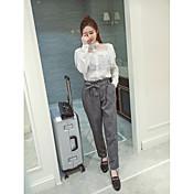 Mujer Sencillo Tiro Alto Microelástico Chinos Empresa Pantalones,Corte Recto Escocés