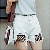 Mujer Chic de Calle Tiro Alto Microelástico Vaqueros Shorts Pantalones,Corte Recto Un Color Encaje