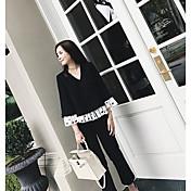 レディース カジュアル/普段着 Tシャツ,シンプル ラウンドネック カラーブロック コットン 長袖