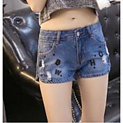 Mujer Chic de Calle Tiro Medio Microelástico Vaqueros Shorts Pantalones,Perneras anchas Estampado