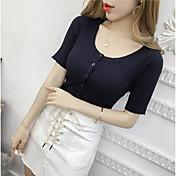 Mujer Sexy Tallas Grandes Camiseta,Escote en Pico Un Color Manga Corta Seda