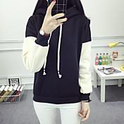 Mujer Tallas pequeñas Sudadera Diario Capilla Un Color Retazos Metálico Brillante strenchy 100% algodón Manga Larga Primavera Otoño