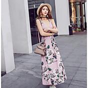 Mujer Corte Bodycon Vestido Casual/Diario Floral Estampado Escote Redondo Hasta la Rodilla Sin Mangas Poliéster 100% algodón VeranoTiro
