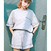 Mujer Simple Deportes Verano T-Shirt Pantalón Trajes,Escote Redondo Un Color Media Manga