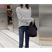 Mujer Simple Casual/Diario Camiseta,Cuello Barco A Rayas Manga Larga Algodón