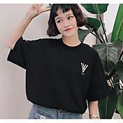 Mujer Bonito Noche Casual/Diario Verano Camiseta,Escote Redondo Un Color Floral Manga Corta Algodón Fino