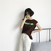 Mujer Simple Casual/Diario Tank Tops,Escote Redondo Estampado Sin Mangas Algodón