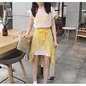 レディース カジュアル/普段着 夏 Tシャツ(21) スカート スーツ,シンプル ラウンドネック メッセージ ノースリーブ