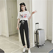 Mujer Sencillo Tiro Medio Microelástico Pantalones de Deporte Pantalones,Corte Ancho Bloques