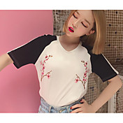 Mujer Simple Casual/Diario Verano Camiseta,Escote Redondo Floral Manga Corta Algodón Fino