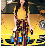 Mujer Simple Noche Casual/Diario Primavera Verano T-Shirt Pantalón Trajes,Escote Redondo Un Color A Rayas Manga Corta