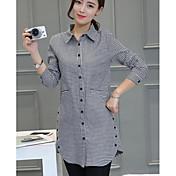 Mujer Simple Casual/Diario Camisa,Escote Cuadrado Estampado Manga Larga Algodón Otro