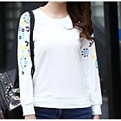 Mujer Simple Casual/Diario Camiseta,Escote Redondo Estampado Manga Larga Algodón Otro