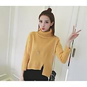 Mujer Regular Pullover Casual/Diario Un Color Cuello Alto Manga Larga Otro Otoño Medio Microelástico