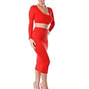 Mujer Corte Bodycon Vestido Discoteca Sexy,Un Color Escote en U Profunda Midi Manga Larga Algodón Otoño Tiro Medio Microelástico Opaco